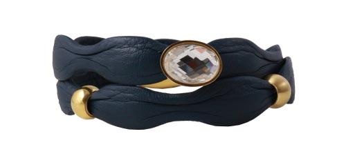 armbånd med blåt læder i bølgefacon