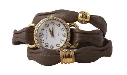 armbåndsur forgyldt med khaki-brunt læder i bølgefacon