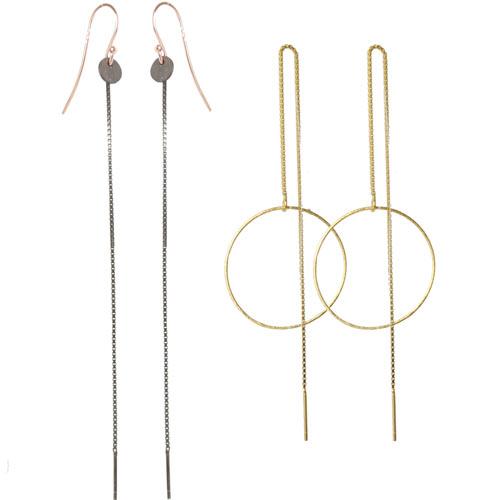 Øreringe med kæder og ringe
