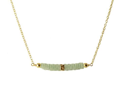 Halskæde med rør af delica perler