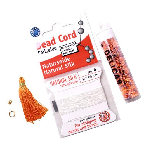 Bead silk cord og delica perler til halskæder