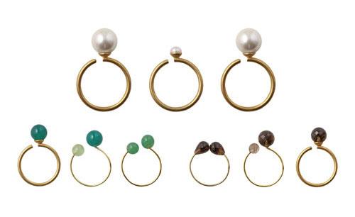 fingerringe med halvædelsten og shell pearls