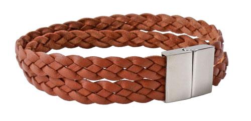 herrearmbånd i lysebrun flettet læder