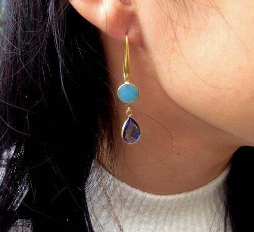 øreringe med glasvedhæng blå