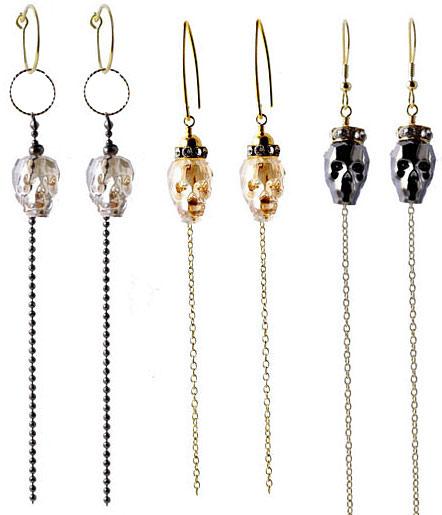 Øreringe med kæder og kranier i swarovski krystal