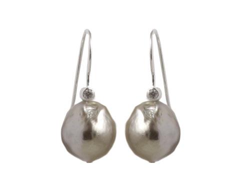 øreringe med sølvgrå barokperler og krystal