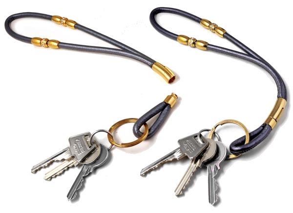 keyhanger med rundsyet læder og klik lås