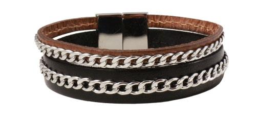 Bredt læderarmbånd med kæder