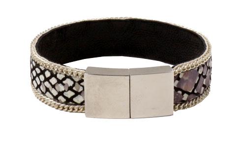 Læderarmbånd med bred magnetlås