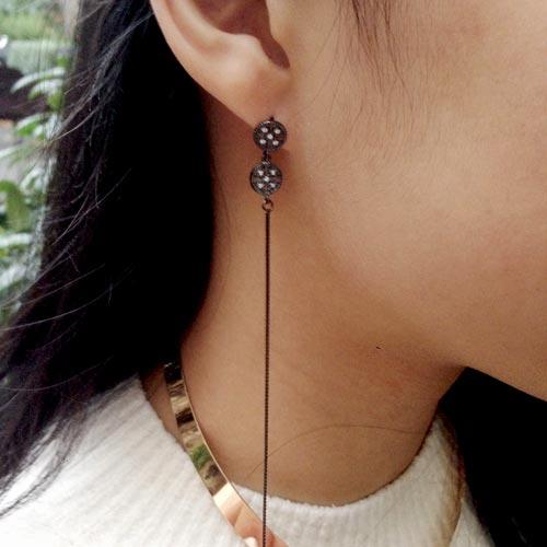 Øreringe med mønter med krystaller og links med krystaller i oxideret sterlingsølv