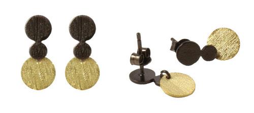 Ørestiks med mønter i forgyldt eller oxideret