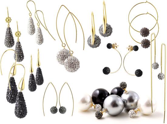Smykker med dråber og perler med krystaller