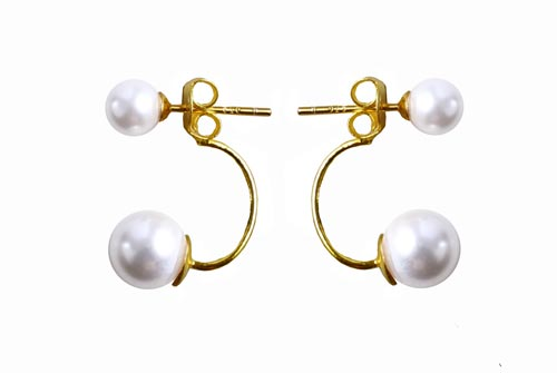 Ørering med svævede perle