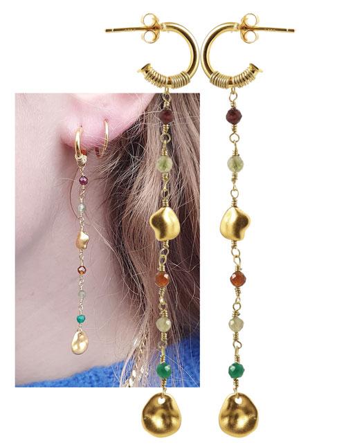øreringe med kæder af perler