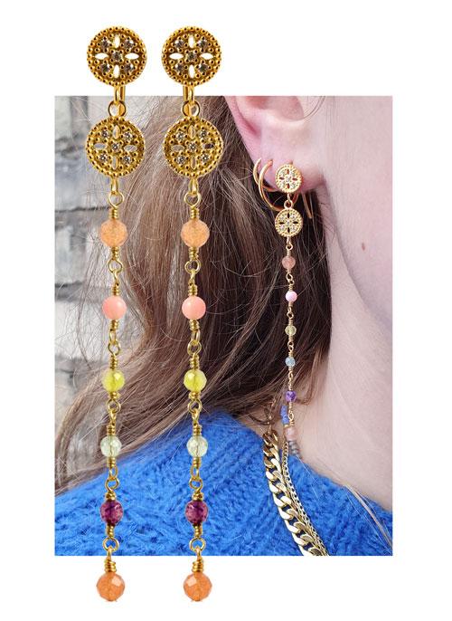 øreringe med mønter og kæde af perler