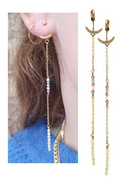 ørestik med krystaller og kæde med perler