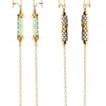 Øreringe med rør af delica perler og kæder