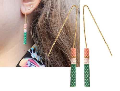 øreringe med peyote stitch og ørekæde