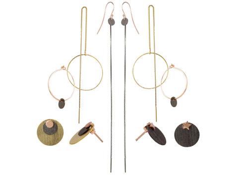 Øreringe med rosa guld, forgyldt og oxideret sterlingsølv