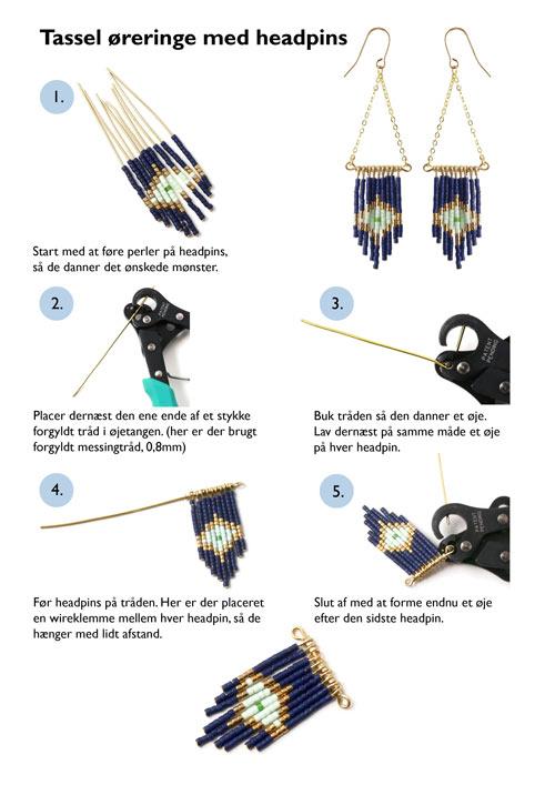 diy tassel øreringe med delica perler på headpins