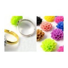 Resin cabochon & blomster