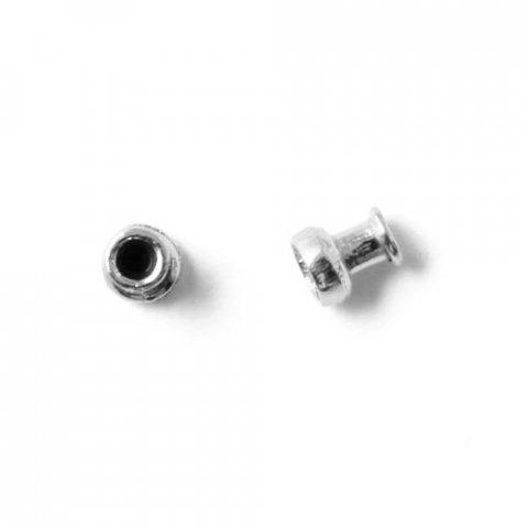 Låsehoveder eller endedupper til kuglelåse, forsølvet messing, 4x3 mm, 2 stk.
