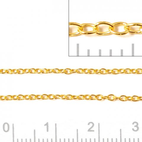 Ankerkæde, AR30, forgyldt (double), tråd 0,30 mm, bredde 1,50 mm, 50 cm.