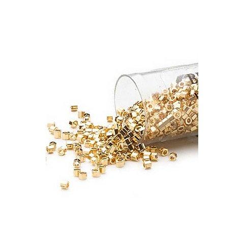 Delica, Größe #11, sechseckig, 24K vergoldete Glasperlen, opak, 3,5 g